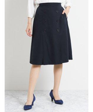 ピーチ釦使いタックフレアースカート 紺