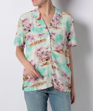 BETTY SHIRT PELICAN DUSTY AQUA PRINT