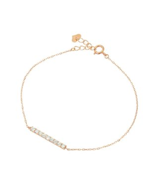 夏の手元のおしゃれに最適☆K18ゴールド 天然ダイヤモンド 0.2ct ライン ブレスレット【K18PG ピンクゴールド】