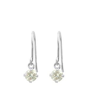 高級K18ゴールド 天然ダイヤモンド0.2ct 耳元でエレガントに揺れるフックピアス【K18WG ホワイトゴールド】