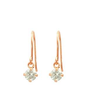 高級K18ゴールド 天然ダイヤモンド0.2ct 耳元でエレガントに揺れるフックピアス【K18PG ピンクゴールド】