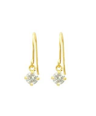 高級K18ゴールド 天然ダイヤモンド0.2ct 耳元でエレガントに揺れるフックピアス【K18YG イエローゴールド】