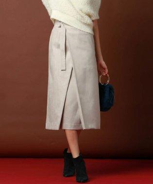 ≪大きいサイズ≫ハイウエストラップAラインスカート