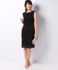 ネジリリボンデザインレースタイトドレス
