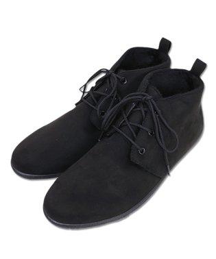 (ショートブーツ)裏ボアデザートブーツ【M】【L】レディース 裏起毛 裏ボア 冬 ボア ベージュ キャメル ブラック グレー カジュアル ブーツ 秋冬 靴 ショ