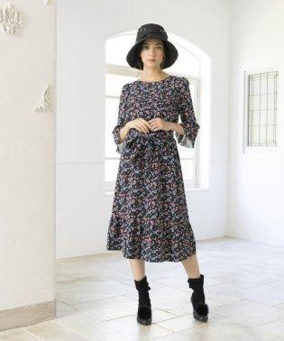 【ウォッシャブル】フラワープリントドレス