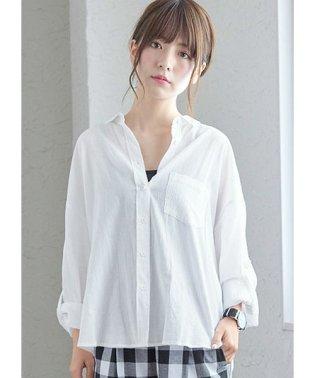 綿100%長袖シンプルシャツ