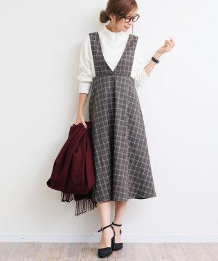 【N-4】グレンチェック ジャンパースカート チェック柄 Vネック ワンピース