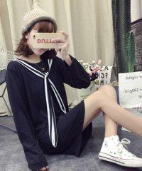 リボンつきワンピース 韓国 ファッション レディース ストライプリボン 秋用 長袖 かわいい【A/W】【ra-2021】