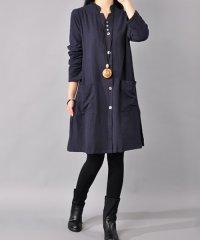ポケットワンピース 韓国 ファッション レディース シンプル 長袖 秋用 冬用【A/W】【ra-2026】