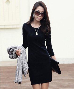 シンプルタイトワンピース 韓国 ファッション レディース 秋用 冬用 長袖 セクシー【A/W】【ra-2029】