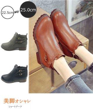 ブーツ ショートブーツ レディース 靴 ローヒール ファスナー付き 歩きやすい 美脚
