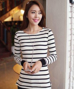 ストライプロングTシャツ 韓国 ファッション レディース ゆったり 長袖 秋用 モノクロ【S/S】【ra-2012】