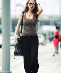 ゆったりヨガパンツ 韓国 ファッション レディース ロングサイズ シンプル 動きやすい 保温性【S/S】【ra-2013】