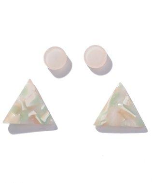 ピアスセット 丸&マーブル三角2