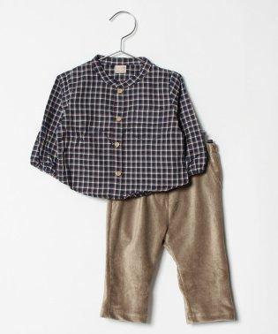 チェックシャツ×コーデュロイパンツセット