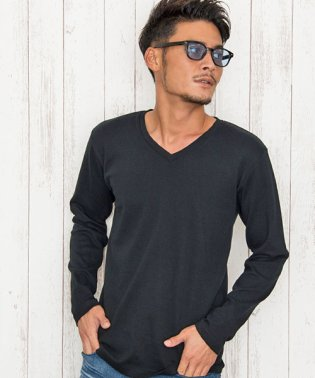 CavariA【キャバリア】日本製無地クルー&Vネック長袖Tシャツ