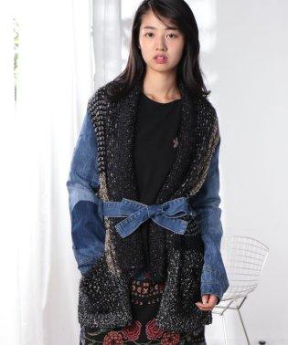 「Desigual/デシグアル」異素材ミックス羽織りカーディガン
