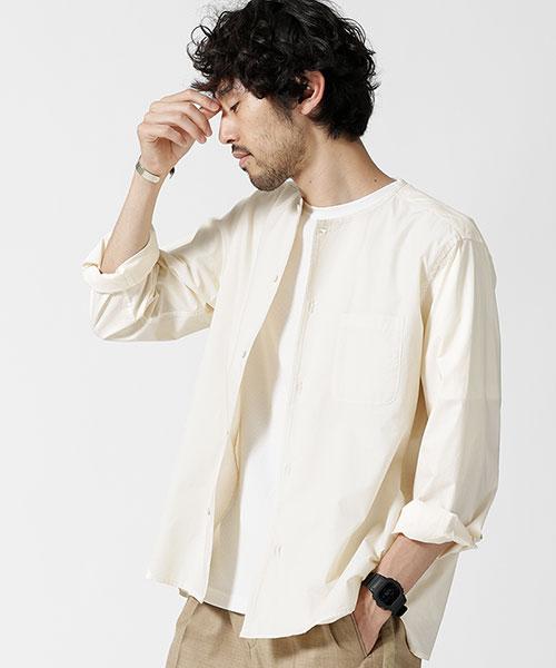 製品染めノーカラートールシャツ
