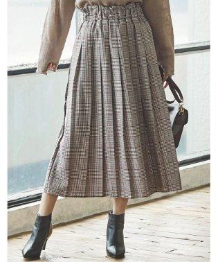 カラーグレンチェックプリーツスカート