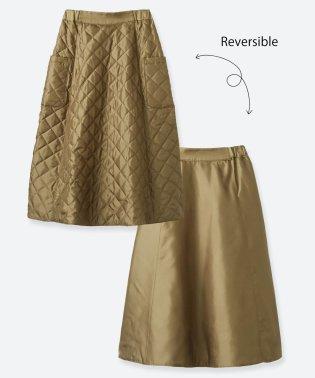 ふんわりシルエットでウエストキュッと見せ リバーシブルで楽しめるキルティングスカート
