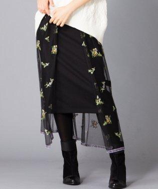 【B7】フラワー刺繍オーバースカート×無地タイトスカ-ト