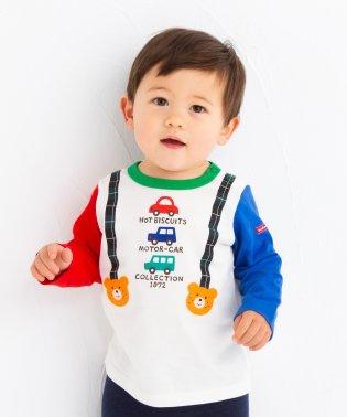 サスペンダープリント長袖Tシャツ(70~90cm)