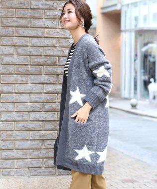 ◆星柄がアクセント◆ジャガード織コーディガン