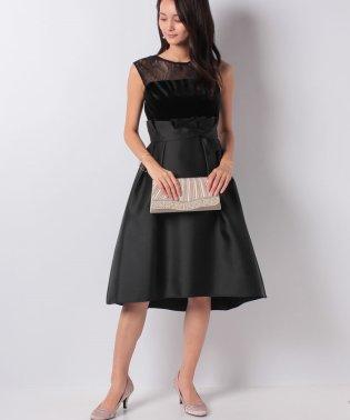 ヨークレースベロア素材切替ドレス