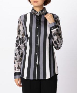 ストライプ&レオパードプリントシャツ