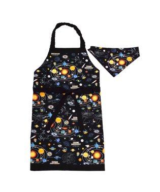 【通園・通学】子どもエプロン(130~160cm)ツートーンタイプ 太陽系惑星とコスモプラネタリウム(ブラック)