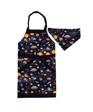 子どもエプロン(100~120cm) 太陽系惑星とコスモプラネタリウム(ブラック)