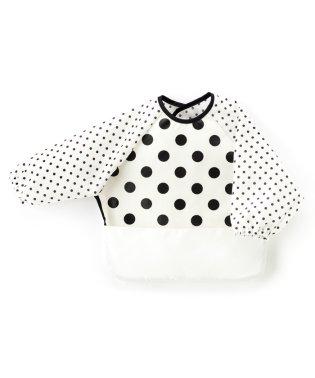 お食事エプロン 長袖タイプ polkadotlarge(broadcloth・white)×白地に黒ドット