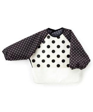 お食事エプロン 長袖タイプ polkadotlarge(broadcloth・white)×水玉黒