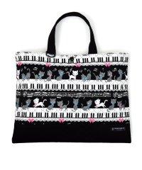 【通園・通学】レッスンバッグ キルティング(ループ付き) ピアノの上で踊る黒猫ワルツ(ブラック)