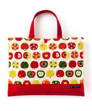 【入学・入園グッズ】レッスンバッグ キルティング(ループ付き) おしゃれリンゴのひみつ(アイボリー)