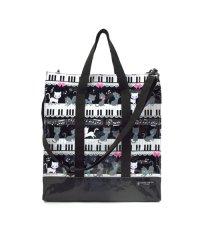 【通園・通学】縦型レッスンバッグ・音楽バッグ ピアノの上で踊る黒猫ワルツ(ブラック)