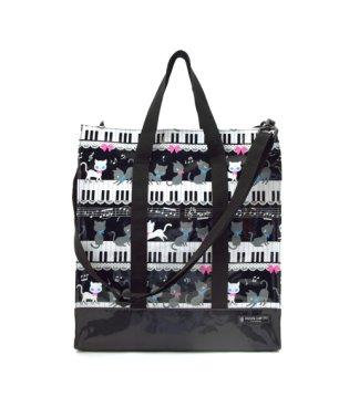 縦型レッスンバッグ・音楽バッグ ピアノの上で踊る黒猫ワルツ(ブラック)