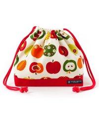 【通園・通学】巾着 中 マチ有りお弁当袋(ネームタグ付き) おしゃれリンゴのひみつ(アイボリー)×オックス・赤
