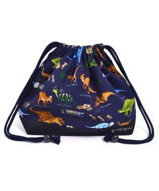 巾着 中 マチ有りお弁当袋(ネームタグ付き) 発見!探検!恐竜大陸(ネイビー)×オックス・紺