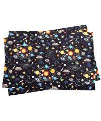 【通園・通学】ランチョンマット ラージタイプ 太陽系惑星とコスモプラネタリウム(ブラック)
