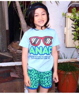 サングラスプリントTシャツ+ロゴショートパンツSET