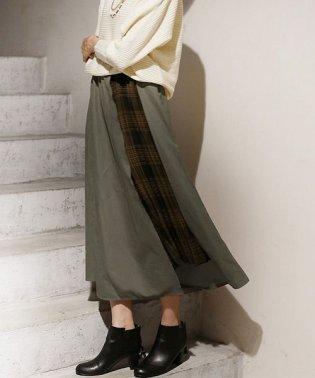 REAL CUBE サイドチェックプリーツスカート