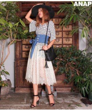 タックフレアTシャツ+レーススカートSET
