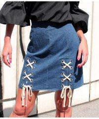 Wレースアップデザイン台形スカート