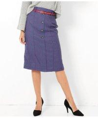 センターボタンベルト付ガンクラブチェックタイトスカート