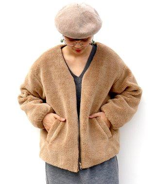 リバーシブルボア×中綿キルトジャケット