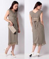 Vネックレースタイトドレス