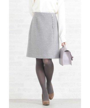 ◆ビジュー調釦シャギースカート