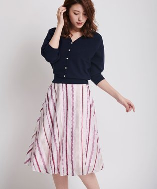 ミックスストライプ刺繍スカート